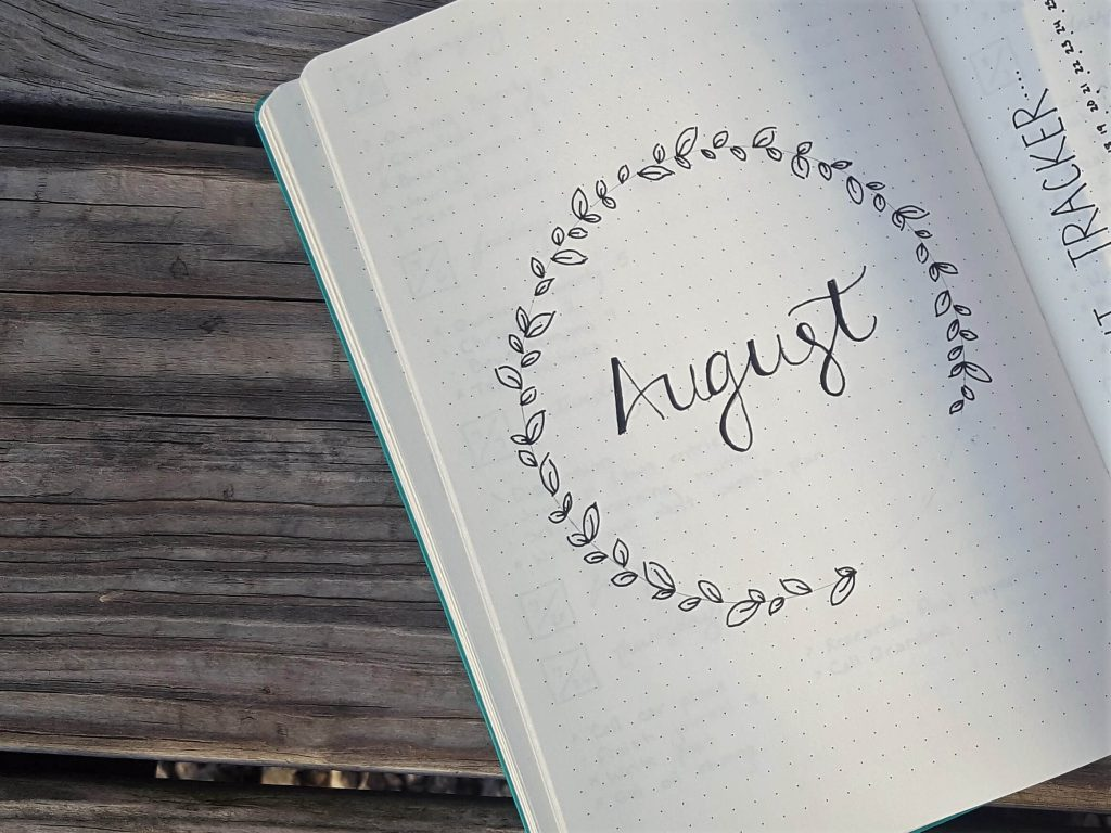 Bullet Journal August Cover Page